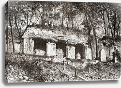 Постер Школа: Испанская 19в. The facade of the palace at Palenque, southern Mexico