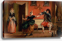 Постер Лесли Чарльз Jourdain Fences his Maid, Nicole with his Wife Looking on. Scene From 'Le Bourgeois Gentilhomme'