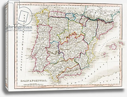 Постер Школа: Английская 19в. Map of Spain and Portugal, from 'Smith's General Atlas', published by C. Smith Mapseller, 1850
