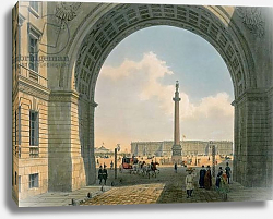 Постер Арнаут Луи (акв) Palace Square, View from the Arch of the Army Headquarters, St. Petersburg, printed by Lemercier, Paris, 1840s