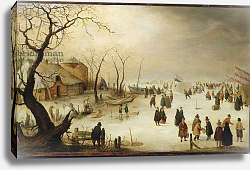 Постер Аверкамп Хендрик A Winter River Landscape with Figures on the Ice