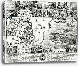 Постер Холлар Вецеслаус (грав) Map of Civil War England and a view of Prague, 1632
