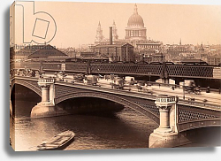 Постер London, England. Blackfriar's Bridge with St. Paul's cathedral behind circa 1890.