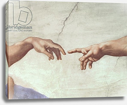 Постер Микеланджело (Michelangelo Buonarroti) Hands of God and Adam, detail from The Creation of Adam, from the Sistine Ceiling, 1511