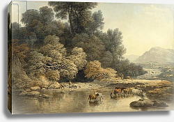 Постер Гловер Джон Hilly landscape with River and Cattle, c.1810