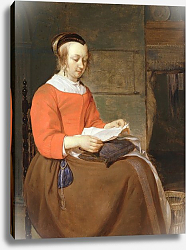 Постер Метсю Габриэль A young woman seated in an interior, reading a letter