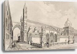 Постер Palermo Cathedral, Italy. The original engraving, was created by E. Romargue and may be dated to the