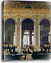 Постер Орпен Уильям Сэр The Signing of Peace in the Hall of Mirrors, Versailles, 28th June 1919, 1919