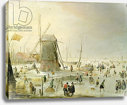 Постер Аверкамп Хендрик A winter scene with skaters by a windmill