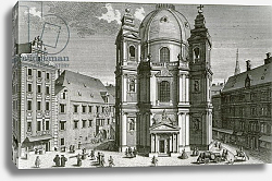 Постер Клейнер Саломон (грав) View of the Peterskirche, Vienna engraved by Johann Bernard Hattinger