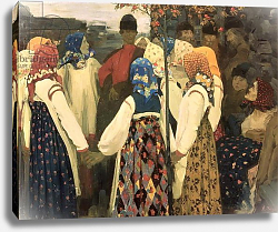 Постер Рябушкин Андрей A lad has wormed his way into the girl's round dance, 1902