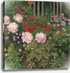 Постер Мозер Коло Flowers and Garden Fence;  Bluhende Blumen am Gartenzaun