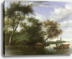 Постер Русдал Соломон Wooded river landscape with figures and cattle on a ferryboat