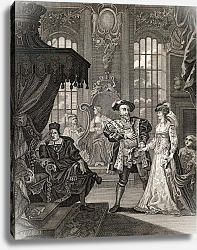 Постер Хогарт Вильям (последователи) Henry VIII and Anne Boleyn, engraved by T. Cooke, from 'The Works of Hogarth', published 1833