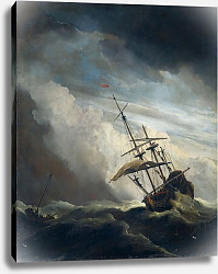 Постер Велде Виллем Старший A ship in need in a raging storm