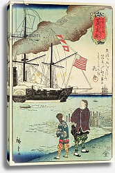 Постер Школа: Японская 19в. American naval vessel in a Japanese harbour, 1861
