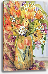 Постер Фивси Джоан (совр) Tulips and Narcissi in an Art Nouveau Vase
