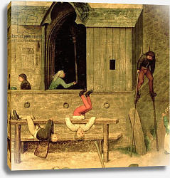 Постер Брейгель Питер Старший Children's Games: detail of a boy on stilts and children playing in the stocks, 1560