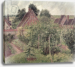 Постер Писсарро Камиль (Camille Pissarro) Landscape with Cottage Roofs, 1899