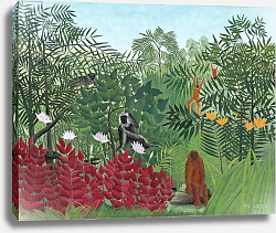 Постер Руссо Анри (Henri Rousseau) Tropical Forest with Monkeys, 1910