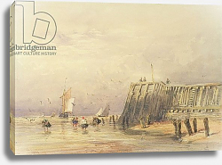 Постер Кокс Давид Seascape with Sailing Barges and Figures Wading Off-Shore, 1832