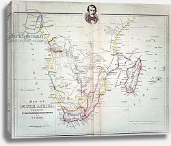 Постер Школа: Английская 18в. Map of South Africa illustrating Dr. Livingstone's discoveries
