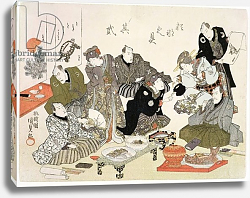 Постер Утагава Кунисада P.61-1938 Painting and calligraphy party at the Manpachiro teahouse, for companion print see 69776,