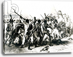 Постер Школа: Французская 19в. Battle of Vertieres, San Domingo, 18th November 1803, engraved by Frilley, 1803
