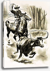 Постер Фокс Анри (детс) A cowboy ropes a steer from horseback with a lasso