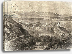 Постер Школа: Английская 19в. View of Granada, illustration from 'Spanish Pictures' by the Rev. Samuel Manning