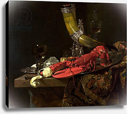 Постер Кальф Уильям Still Life with the Drinking-Horn of the St. Sebastian Archers' Guild, Lobster and Glasses, c.1653