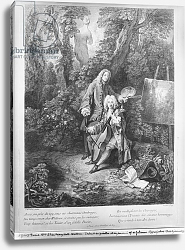 Постер Ватто Антуан (Antoine Watteau) Jean Antoine Watteau and his friend Monsieur de Julienne, engraved by Nicolas Henri Tardieu