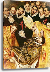 Постер Эль Греко The Burial of Count Orgaz, detail of the Count with St. Stephen and St. Augustine, 1586