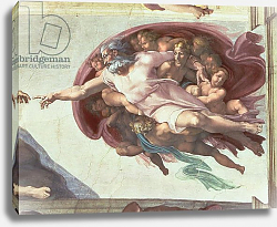 Постер Микеланджело (Michelangelo Buonarroti) Sistine Chapel Ceiling: The Creation of Adam, detail of God the Father, 1508-12