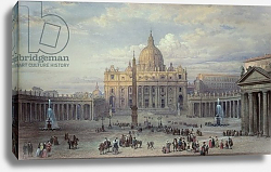 Постер Хаг Луи Exterior of St. Peter's, Rome, from the Piazza, 1868