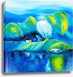 Постер Озеро и лодки