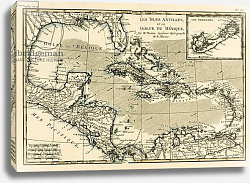 Постер Бонне Чарльз (карты) The Antilles and the Gulf of Mexico, 1780