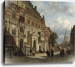 Постер Спрингер Корнелис The Town Hall on the Burchtstraat with St Steven's Church beyond, Nijmegen