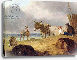 Постер Ибертсон Юлиус Donkeys and Figures on a Beach