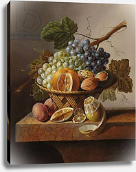 Постер Брюн Иоханнес Grapes, an orange and walnuts in a wicker basket with a lemon and plums, all on a marble ledge