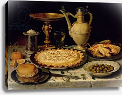 Постер Питерс Клара Still life with a tart, roast chicken, bread, rice and olives