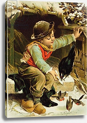Постер Школа: Английская 19в. Young Boy with Birds in the Snow