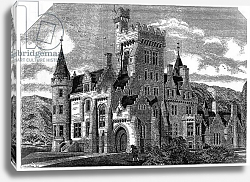 Постер Школа: Ирландская 19в. Humewood Castle, Co. Wicklow, illustration from 'The Building' 1868