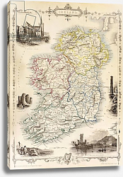 Постер Школа: Английская 19в. Map of Ireland from 'The History of Ireland' by Thomas Wright, published c.1854