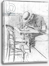 Постер Болдини Джованни Paul Cesar Helleu at a table in a cafe