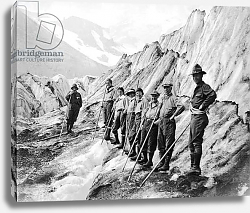 Постер Mount Rainier National Park, Washington: c.1920 Climbers pose for a pprtrait while hiking up Mt. Rainier.