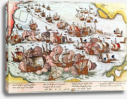 Постер Хогенберг Франц (карты) Naval Combat between the Beggars of the Sea and the Spanish in 1573