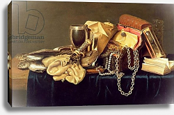 Постер Вермюлен Андрес Still Life of a Jewellery Casket, Books and Oysters