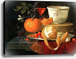 Постер Брок Элиас Still life of an orange, a lemon and strawberry on a pewter plate, a wan-li bowl behind