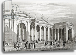 Постер Бартлет Уильям (последователи, грав) The Bank of Ireland, Dublin, from 'Scenery and Antiquities of Ireland' by George Virtue